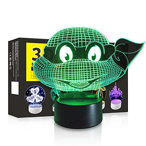 3D Led Night Light Touch Table Desk Optical Illusion Lamp  7 Colors Changing Lights  Boys Girls Birthday Gift  Ninja Turtles