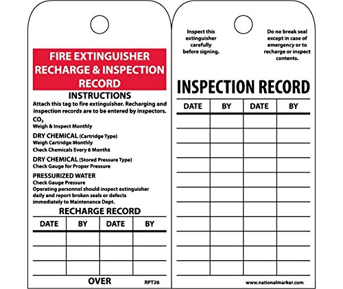 National Marker Corp. RPT26ST Tags, Fire Extinguisher Recharge And Inspection, 6 Inch X 3 Inch, Synthetic Paper, 25/Pk (Hole) (Fire Inspection Tag)