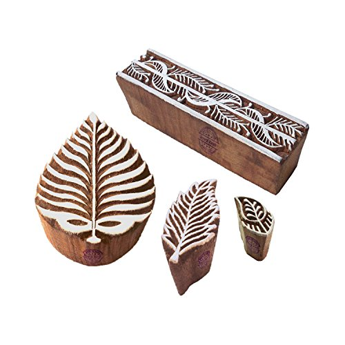 Royal Kraft DIY Wooden Printing Stamps for Making Henna Tattoos, Fabric Block Prints, Paper Decoration, Clay Block and Pottery Drawings, Wood, Vbs1-htag1732, Set of 4