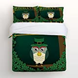 Ultra Soft 4 Pcs Bedding Sets Cotton Modern Luxury Bedding St. Patrick's Day Owl Printed Home Comforter Bedspread Duvet Cover Set Full Size By KAROLA