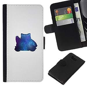 JackGot ( Blue Pekemon ) Samsung ALPHA G850 la tarjeta de Crédito Slots PU Funda de cuero Monedero caso cubierta de piel