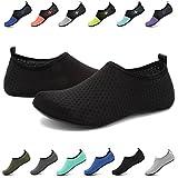 EASTSURE Snorkeling Shoes Water Sport Shoes Aqua Mesh Socks for Men Women Beach Swim Surf Yoga Black 38-39