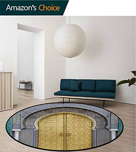 RUGSMAT Moroccan Round Rug Kid Carpet,Antique Doors Morocco Gold Doorknob Ornamental Carved Intricate Artistic Home Decor Foor Carpet,Diameter-39 Inch Yellow Teal Blue