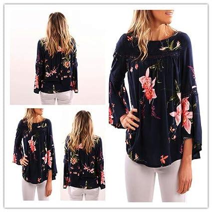 Mujer y Niña otoño fashion fiesta,Sonnena ❤ Camisa de manga larga estampada para mujer Blusa casual trabajo y juego Tops camiseta: Amazon.es: Hogar
