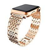 Lovewe Apple Watch Band With Bling Crystal,Comfortable Luxury Durable Metal Crystal Watch Band For Apple Watch Series 1/2/3 38mm/42mm (Rose Gold, 38mm)