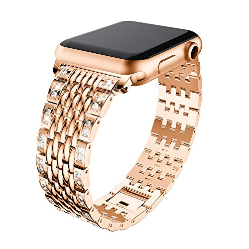 Price comparison product image Apple Watch Band,  Luxury Durable Premium Stainless Steel Strap Bracelet Replacement with Classic Clasp for Apple Watch Series 3, 2,  1,  Women and Men (Rose Gold,  42mm)