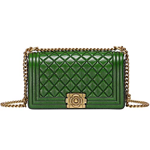 (PIJUSHI Shoulder Handbags For Women Genuine Leather Quilted Chain Bag Cross Body Purses (99881 Green))