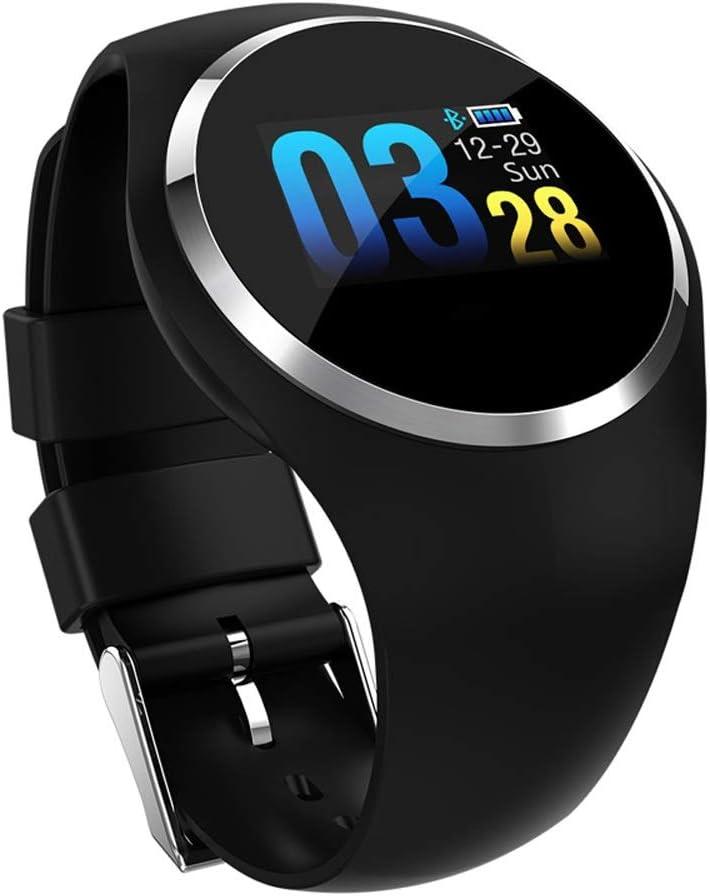 Gimnasio Smart Watch Mujer Corriendo Monitor de ritmo cardíaco Presión arterial Bluetooth Podómetro táctil Inteligente impermeable IP67 Reloj Compatible con Android Plataforma IOS ( color : NEGRO )