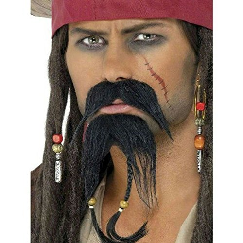 [Popcandy Caribbean Pirate Black Facial Hair Moustache and Beard Gotee Set] (Pirate Hair)