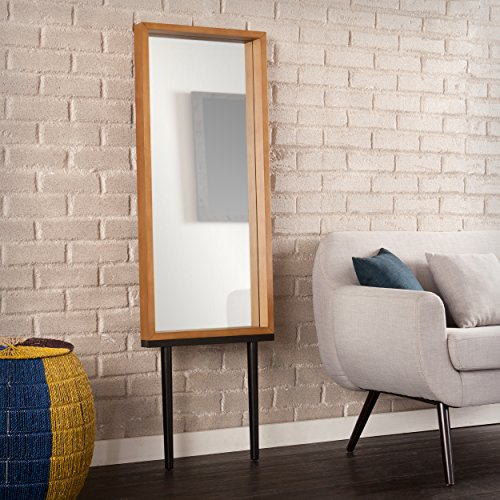 Southern Enterprises Holly Martin Sawa Leaning Mirror – Weathered Gray, Oak
