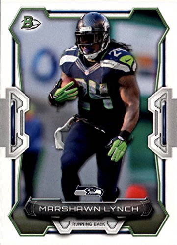 Marshawn Lynch 2015 Bowman NFL Football Card #95 Picturing This Seattle Seahawks Star in His Blue Jersey M (Mint) Russell Athletic White Football Jersey