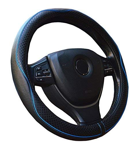 Genuine Leather Car Steering Wheel Cover - Heavy Duty, Anti-Slip Embossing Pattern ,Durable, Breathable & Odor Free, Universal 15 Inch Steering Cover (Black with Blue Line)