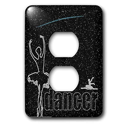 abe0bed5dd747 3dRose KIKE CALVO Ballerinas and Dancers - Sketched ballerina looking at a  shooting star on a black starry night - Light Switch Covers - 2 plug outlet  ...