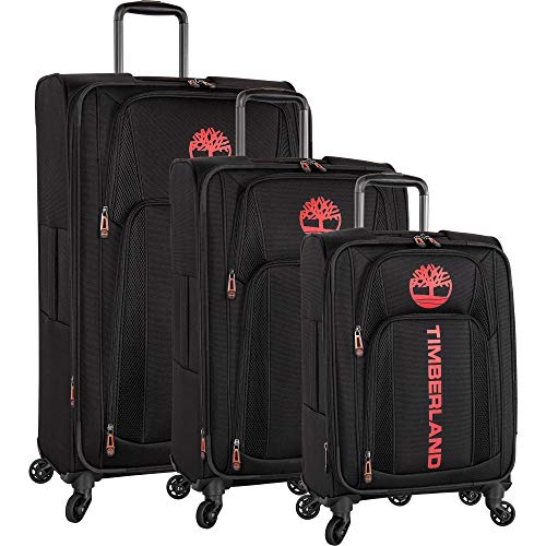 (Timberland 3 Piece Expandable Spinner Luggage Set, Black)