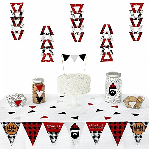 Big Dot of Happiness Lumberjack - Channel The Flannel - Triangle Buffalo Plaid Party Decoration Kit - 72 Piece