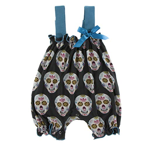 Kickee Pants Little Girls Print Gathered Romper with Bow - Dia de Los Muertos, 12-18 Months