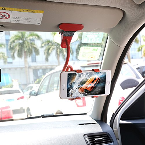 iMounTEK Vehicle Clip Universal Phone Stand, Clamp Opens Up to 5.59 Inches Wide Fitting Most Phones including, iPhone, Samsung, Motorolla, and Apple Models (Red)