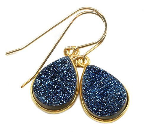 14k Gold Peacock - 14k Yellow Gold Drusy Earrings Peacock Blue Druzy Teardrop Goldtone Bezel Set Simple Dainty Drops