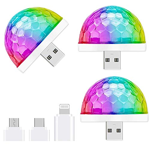 USB Mini Disco Light,3 Packs,Party Lights Ball Sound Activated, Halloween DJ Disco Ball Stage Lights-Multi Colors LED Car Atmosphere Light,Magic Strobe Light for Xmas Parties,Pool,Club,Church,Karaoke