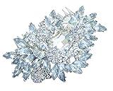 Sindary Wedding Headpiece 4.33 Inch Silver-tone Clear Rhinestone Crystal Flower Hair Comb