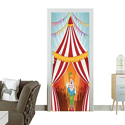 3D Photo Door Murals Cartoon Clown in Circus Tent Cheerful Costume Funny Entertainer Joyful Design R Easy to Clean and applyW17.1 x H78.7 INCH -