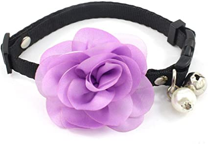 PetFavorites Designer Wedding Flower Suede Leather Pet Cat Dog Bow Tie Collar Necklace Jewelry with Bell Charm for Pets Cats Small Dogs Female Puppy Chihuahua Yorkie Girls Costume Outfits Adjustable