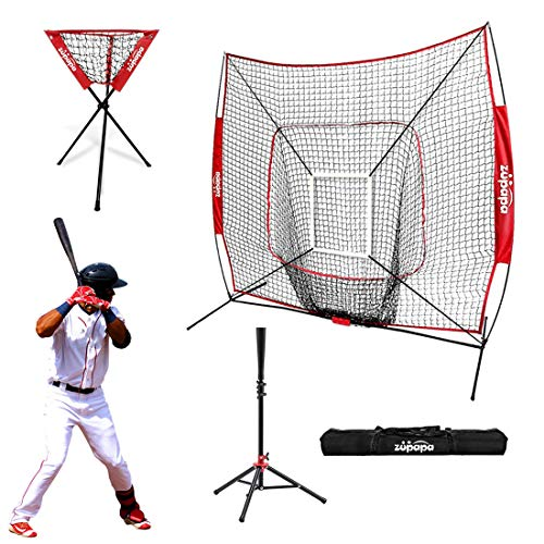 (Zupapa 7x7 Feet Baseball Softball Hitting Pitching Net Tee Caddy Set with Strike Zone, Baseball Backstop Practice Net for Pitching Batting Catching for All Skill Levels)
