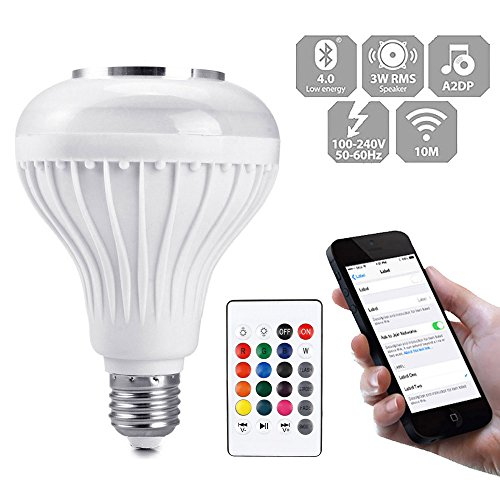 Price comparison product image Huayang / 12W E27 LED Bluetooth Speaker Light Bulb Music Player Color Changing Smart RGB Lamp Wireless White Bulb with 24 Keys IR Remote Control for Home / Bar / Party / KTV