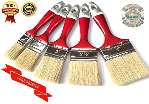 NEW LINE - #FRL5 - SET OF 5 - CHALK PAINTS & WAX shabby chic 5 PREMIUM FLAT PAINT BRUSHES NO BRISTLE LOSS PURE bristle BRUSHes Precission Quality (Paint Shabby Chic)