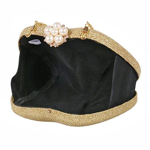 Handbag Women Pearl Gold Clasp Cocktail Damara Hardcase Flower Glitter 0Ttfwq