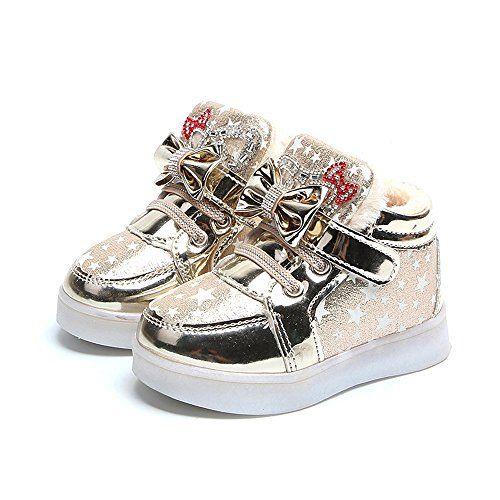 Yamally Sneakers for Baby Girls Boys Fashion Plus Velvet Boots Star Luminous Child Casual Colorful Light Shoes (4.5 Years, Gold 01) -