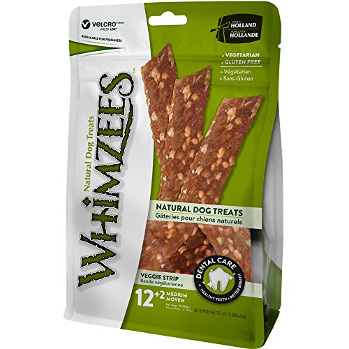 (WHIMZEES 14 Count Natural Grain Free Dental Dog Treats, Veggie Strip, Medium)