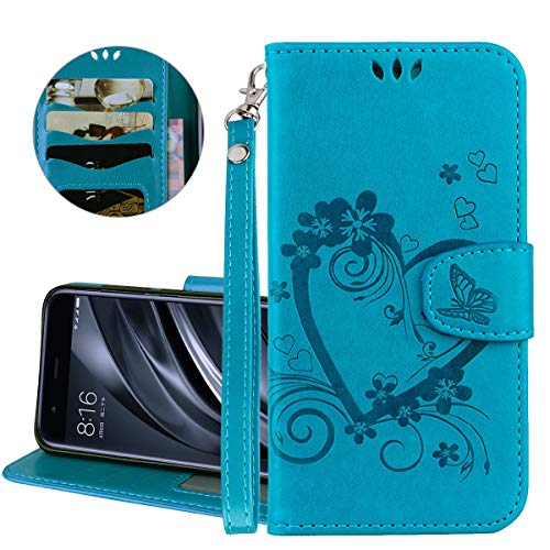 ther, IDBI Love Heart Flower Butterfly Embossed Wallet PU Leather Fashion Design Magnetic Flip Cover Stand Case Card Holders Slots for iPod Touch 5/6th Blue ()