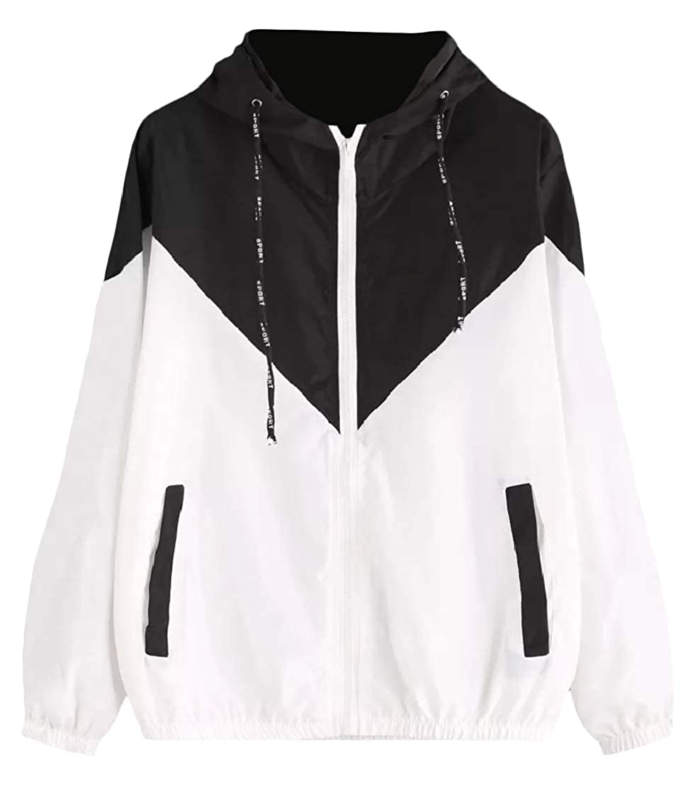 DressU Womens Hit Color Oversize Hood Full-Zip Windproof Trench Coat Jacket