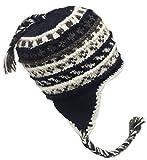 Nepal Hand Knit Sherpa Hat with Ear Flaps, Trapper Ski Heavy Wool Fleeced Lined Cap (Black Zig Zag)