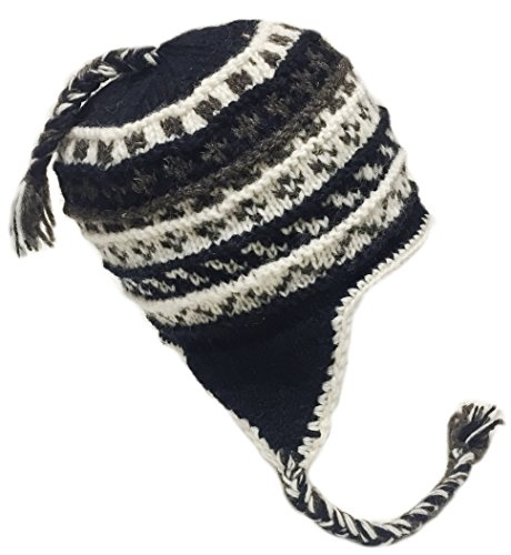 Nepal Hand Knit Sherpa Hat with Ear Flaps, Trapper Ski Heavy Wool Fleeced Lined Cap (White Black Extra Large Head)