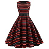 Anxinke Women Vinteage Stripes Sleeveless Empire Waist Belted Swing Dresses (M)