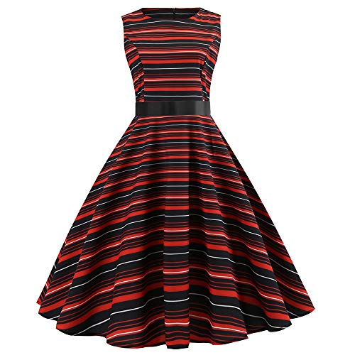 Anxinke Women Vinteage Stripes Sleeveless Empire Waist Belted Swing Dresses (M) by Anxinke Women Dress