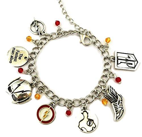 - Mainstreet247 The Flash Superhero Silvertone Metal Novelty Charm Bracelet