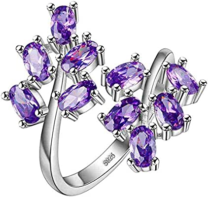 Uloveido Womens White Gold Plated Oval Cut Cubic Zirconia Laurel Branch Tree Leaf Adjustable Engagement Anniversary Ring Red, Pink, Purple J681