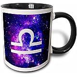 3dRose mug_202163_4 Libra star sign on purple space background - zodiac horoscope symbol - Two Tone Black Mug, 11oz