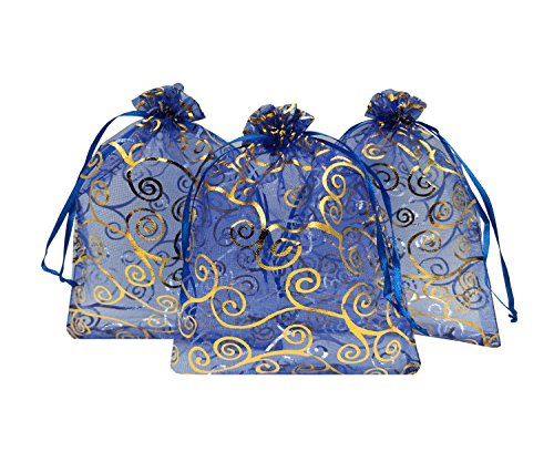 Ankirol 100pcs Sheer Organza Favor Bags 5x7'' For Wedding Bags Samples Display Drawstring Pouches (blue-gold swirl)
