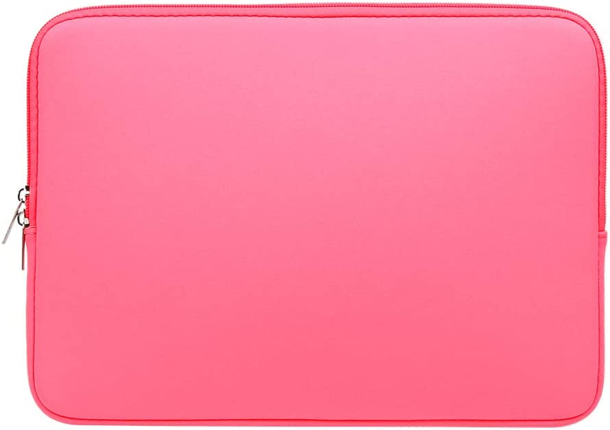 RAINYEAR 13 Inch Laptop Sleeve Compatible with 13.3 MacBook Air Pro M1 2020 2021 A2337 A2338 A1932 A1989 A1706 A1708 A2159 A2179 A2251 A2289 Carrying Computer Bag Protective Cover Case(Bright Pink)