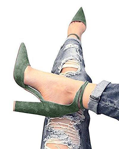 Huiyuzhi Womens Chunky Ankle Strappy Sandal Pointed Toe High Heels (9.5 B(M) US, Army (Block Heel Shoes)