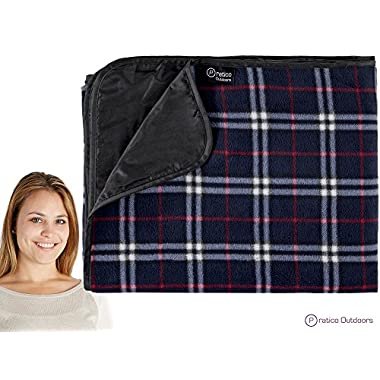 Premium Extra Large Picnic & Outdoor Blanket with Improved Backing, Carrying Buckle, & Machine Washable (Navy Blue)