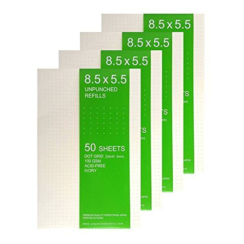 8.5 X 5.5 Dot Grid - IVORY - Loose Leaf Filler Paper For Ring Binder Discbound Notebook Planner Inserts - Unpunched Refills - 50 Sheets x 4 Packs, 200 Sheets, 400 Pages, 100gsm