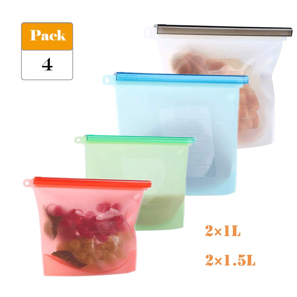 Reusable Silicone Storage Bag Food Preservation Bag Food Grade Storage Containers Airtight Seal Bag for Fruits, Vegetables, Meat, Soup- (2x1L&2x1.5L)