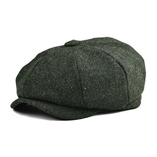 Classic Wool Ivy Cap - BOTVELA Men's Premium Wool Classic Flat Ivy Newsboy Cap Herringbone Pattern Flecked Hat (Green, M)