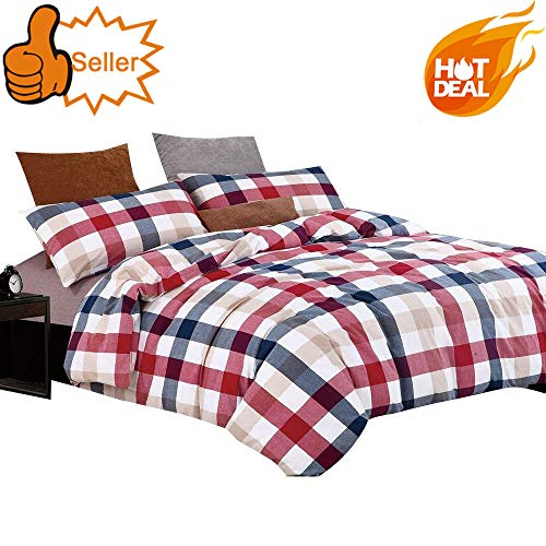 OTOB Colorful Red Blue Plaid Checkered Bedding Set for Kids Adults 3 Piece Lightweight Washed Cotton Gingham Plaid Duvet Cover Sets with Pillow Shams Zipper Closure 4 Corner Ties, Twin, Red Blue