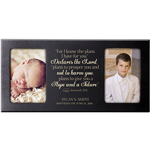 Personalized 1st Holy Communion Baptism photo frame Gift Custom Engraved Christening picture frame holds 2 -4x6 photos For I know the plans I have for you, Declares the Lord Jeremiah 29:11 (Black) by LifeSong Milestones